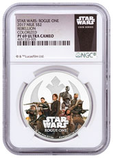 2017 Niue Star Wars: Rogue One - Rebellion 1 oz Silver Colorized Proof $2 NGC PF69 Exclusive Star Wars Label