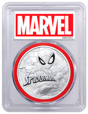 2017 Tuvalu Spider-Man 1 oz Silver Marvel Series $1 Coin PCGS MS70 Red Gasket Exclusive Marvel Label