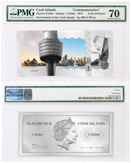 2017 Cook Islands Famous Skylines - Sydney Foil Note 5 g Silver Prooflike $1 PMG Gem Unc 70 ER