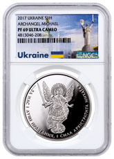 2017 Ukraine 1 oz Silver Archangel Michael Proof 1 Coin NGC PF69 UC Exclusive Ukraine Label