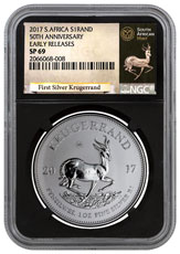 2017 South Africa 1 oz Silver Krugerrand Premium Uncirculated Coin NGC SP69 ER (Black Core Holder - Exclusive Krugerrand Label)