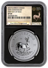 2017 South Africa 1 oz Silver Krugerrand Premium Uncirculated Coin NGC SP69 FDI (Black Core Holder - Exclusive Krugerrand Label)