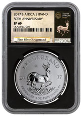 2017 South Africa 1 oz Silver Krugerrand Premium Uncirculated Coin NGC SP69 (Black Core Holder - Exclusive Krugerrand Label)