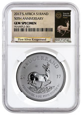2017 South Africa 1 oz Silver Krugerrand Premium Uncirculated Coin NGC GEM BU Exclusive Krugerrand Label