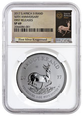 2017 South Africa 1 oz Silver Krugerrand Premium Uncirculated Coin NGC SP69 FR (Exclusive Krugerrand Label)