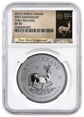2017 South Africa 1 oz Silver Krugerrand Premium Uncirculated Coin NGC SP70 ER (Exclusive Krugerrand Label)