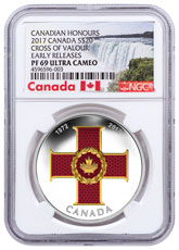 2017 Canada Canadian Honors - Cross of Valor 1 oz Silver Colorized Proof $20 Coin NGC PF69 UC Early Releases