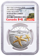 2017 Canada From Sea to Sea - Atlantic Starfish 1 oz Silver Gilt Proof $20 Coin NGC PF69 UC ER Exclusive Canada Label