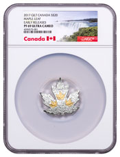 2017 Canada Maple Leaf Shaped 1 oz Silver Gilt Proof $20 Coin NGC PF69 UC ER Exclusive Canada Label