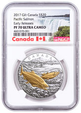 2017 Canada From Sea to Sea - Pacific Salmon 1 oz Silver Gilt Proof 20 Coin NGC PF70 UC ER Exclusive Canada Label
