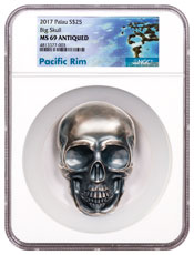 2017 Palau Big Skull High Relief 1/2 Kilo Silver Antiqued $25 Coin NGC MS69 Exclusive Pacific Rim Label