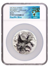 2017 Cook Islands 7 Summits - Everest Ultra High Relief 5 oz Silver Colorized $25 Coin NGC MS70 ER Exclusive Pacific Rim Label