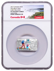 2017 Canada The Great Trail Rectanglar 1.5 oz Silver Colorized Proof $25 Coin NGC PF70 UC ER Exclusive Canada Label