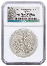 2017 Isle of Man 2 oz High Relief Silver Angel - Piedfort Proof Coin NGC PF69 UC ER Exclusive Angel Label