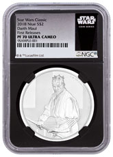 2018 Niue Star Wars Classic - Darth Maul 1 oz Silver Proof $2 Coin NGC PF70 UC FR Black Core Holder