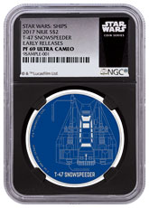 2017 Niue Star Wars Ships - T-47 Snowspeeder 1 oz Silver Colorized Proof $2 Coin NGC PF69 UC ER Black Core Holder Exclusive Star Wars Label