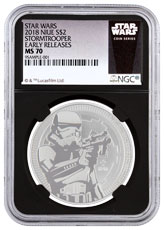 2018 Niue Star Wars Classic - Stormtrooper 1 oz Silver $2 Coin NGC MS70 ER Black Core Holder Exclusive Star Wars Label