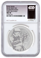 2018 Niue Star Wars Classic - Stormtrooper 1 oz Silver $2 Coin NGC MS70 FR Exclusive Star Wars Label