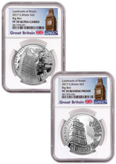2017 Great Britain Landmarks of Britain - Big Ben 2-Coin Set 1 oz Silver £2 Coin NGC PF70 UC Exclusive Big Ben Label