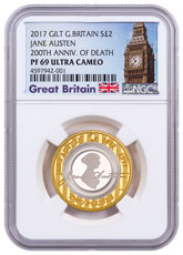 2017 Great Britain An Enduring Romance with Jane Austen Silver Gilt Proof £2 Coin NGC PF69 UC Exclusive Big Ben Label