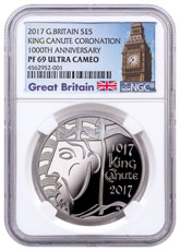 2017 Great Britain Coronation of King Canute - 1 oz Silver Proof £5 Coin NGC PF69 UC Exclusive Big Ben Label