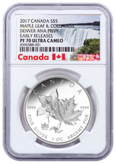 2017 Canada ANA State Flowers - Maple Leaf & Columbine Denver ANA Privy 1 oz Silver Proof $5 Coin NGC PF70 UC ER Exclusive Canada Label