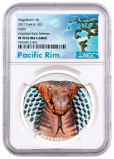 2017 Cook Islands Magnificent Life - Cobra High Relief 1 oz Silver Colorized Proof $5 Coin NGC PF70 UC ER Exclusive Pacific Rim Label