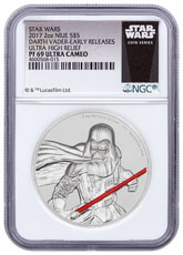 2017 Niue Star Wars - Darth Vader Ultra High Relief 2 oz Silver Colorized Proof $5 Coin NGC PF69 UC ER Exclusive Star Wars Label