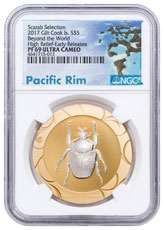 2017 Cook Islands Scarab Beetle Selection II - Beyond the World High Relief 1 oz Silver Gilt Proof $5 Coin NGC PF69 UC Exclusive Pacific Rim Label