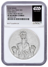 2017 Niue Star Wars Classic - Han Solo Ultra High Relief 2 oz Silver Proof $5 Coin NGC PF69 UC Exclusive Star Wars Label
