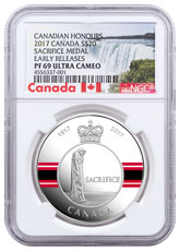 2017 Canada Canadian Honors - Sacrifice Medal 1 oz Silver Colorized Proof $20 Coin NGC PF69 UC ER Exclusive Canada Label