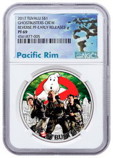 2017 Tuvalu Ghostbusters - Crew 1 oz Silver Colorized Reverse Proof $1 Coin NGC PF69 ER Exclusive Pacific Rim Label