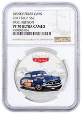 2017 Niue Disney Cars - Doc Hudson 1 oz Silver Colorized Proof $2 Coin NGC PF70 UC
