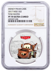 2017 Niue Disney Cars - Tow Mater 1 oz Silver Colorized Proof $2 Coin NGC PF70 UC