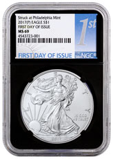 2017-(P) Silver Eagle Struck at Philadelphia NGC MS69 FDI Black Core Holder