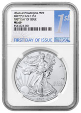 2017-(P) Silver Eagle Struck at Philadelphia NGC MS69 FDI