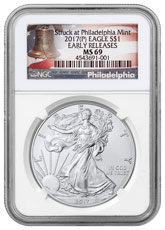2017-(P) Silver Eagle Struck at Philadelphia NGC MS69 ER (Liberty Bell Label)