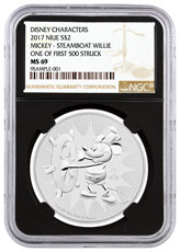 2017 Niue Disney Classics - Mickey Mouse Steamboat Willie 1 oz Silver $2 Coin NGC MS69 First of 500 Struck (Black Core)