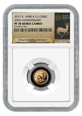 2017 South Africa 1/20 oz Gold Krugerrand - 50th Anniversary Privy Proof Coin NGC PF70 UC (Exclusive South Africa Label)