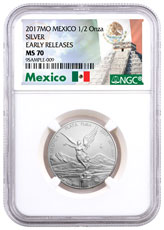 2017-Mo Mexico 1/2 oz Silver Libertad Coin NGC MS70 ER Exclusive Mexico Label