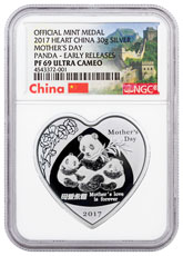 2017 China Mothers Day - Panda Heart Shaped 30 g Silver Proof Coin NGC PF69 UC ER (Exclusive Great Wall Label)