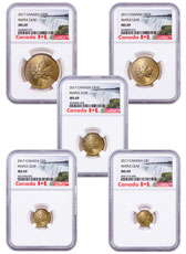 2017 Canada Gold Maple Leaf 5-Coin Set NGC MS69 (Exclusive Canada Label)