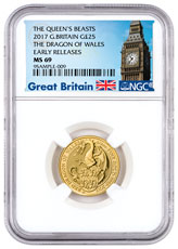 2017 Great Britain 1/4 oz Gold Queen's Beasts - Red Dragon Wales £25 Coin NGC MS69 ER (Exclusive Great Britain Label)