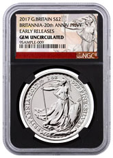 2017 Great Britain 1 oz Silver Britannia - 20th Anniversary Trident Privy £2 NGC GEM Uncirculated ER (Black Core Holder - Exclusive Britannia Label)