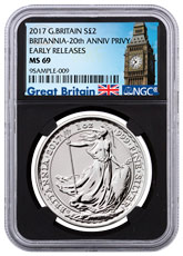 2017 Great Britain 1 oz Silver Britannia - 20th Anniversary Trident Privy £2 Coin NGC MS69 ER (Black Core Holder - Exclusive Great Britain Label)