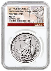 2017 Great Britain 1 oz Silver Britannia - 20th Anniversary Trident Privy £2 Coin NGC MS69 FR Exclusive Britannia Label