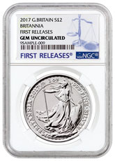 2017 Great Britain 1 oz Silver Britannia - 20th Anniversary Trident Privy £2 Coin NGC GEM BU FR