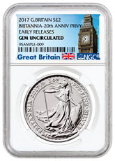 2017 Great Britain 1 oz Silver Britannia - 20th Anniversary Trident Privy £2 Coin NGC GEM BU ER (Exclusive Great Britain Label)