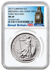 2017 Great Britain 1 oz Silver Britannia - 20th Anniversary Trident Privy £2 Coin NGC MS69 ER (Exclusive Great Britain Label)