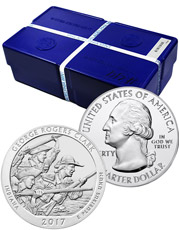 Monster Box of 100 - 2017 George Rogers Clark 5 oz. Silver America the Beautiful Coins GEM BU